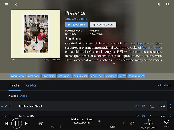 Led Zeppelin's Presence not available - TIDAL - Roon Labs