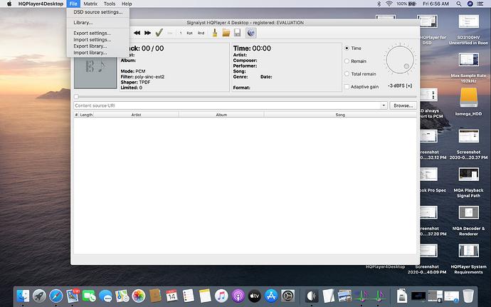 HQP File Menu
