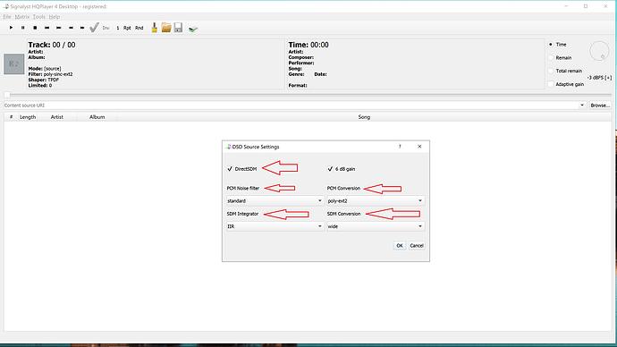 Ecran 2 DSD Sources Settings