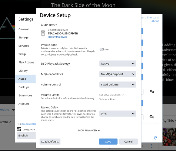 Device Setup General