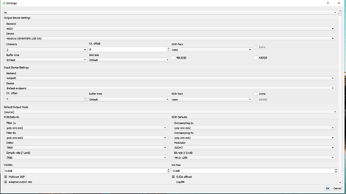 Ecran 1 Paramétrages HQplayer Desktop