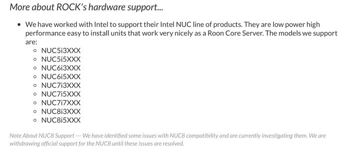 NUC8 / Intel® Wireless-AC 9560 / Linux driver wifi - ROCK - Roon