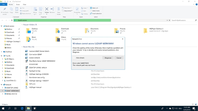 Cannot connect my Windows 10 Roonserver to my QNAP NAS