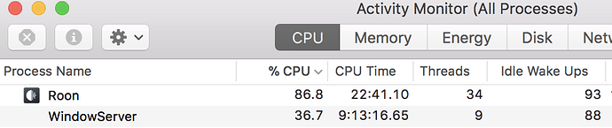 Roon (as remote on Mac) taking up a ton of system resources