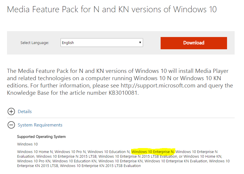 Required Audio Codecs Missing error on Windows 10 Pro N