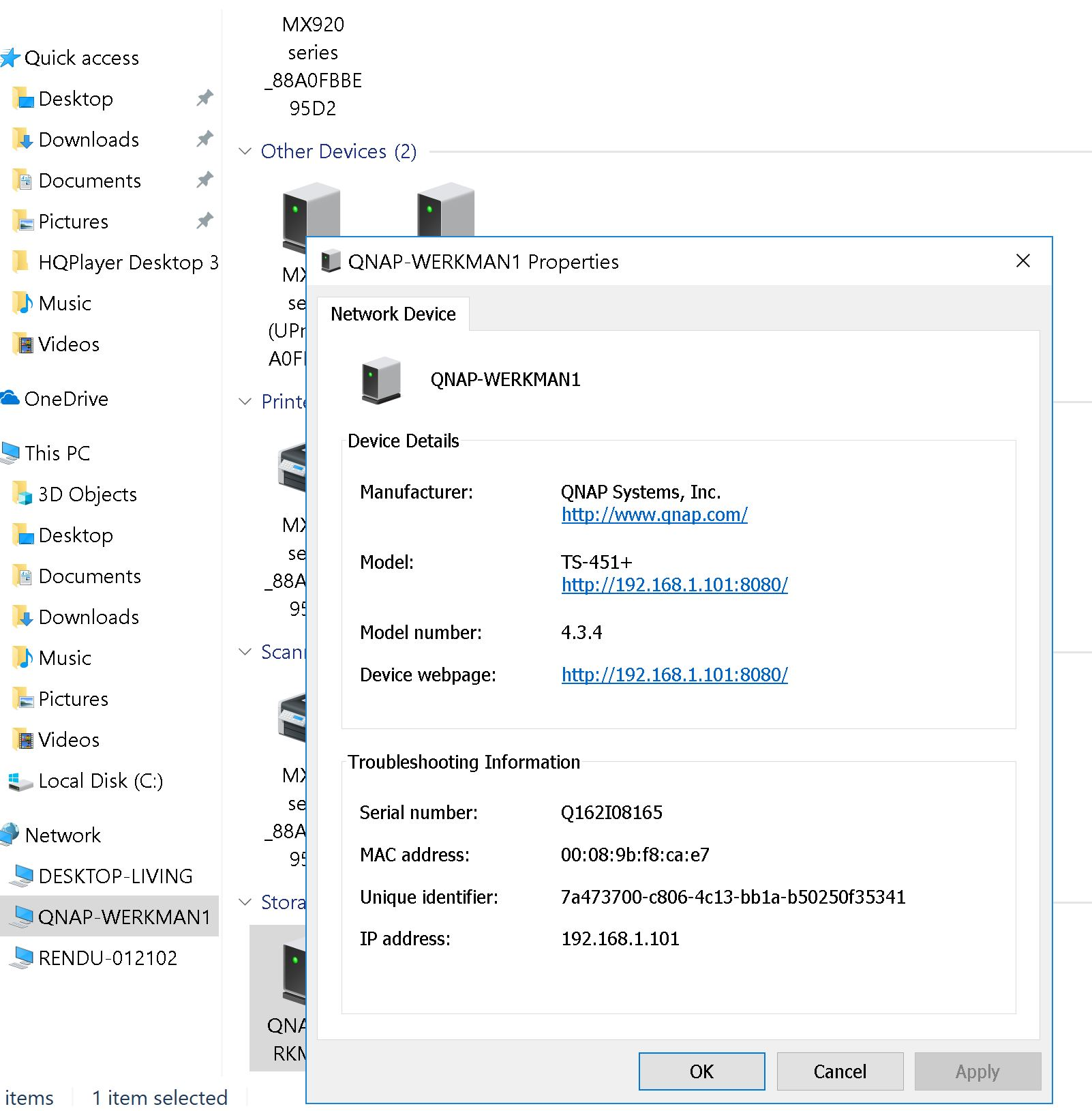 Cannot connect my Windows 10 Roonserver to my QNAP NAS [Resolved